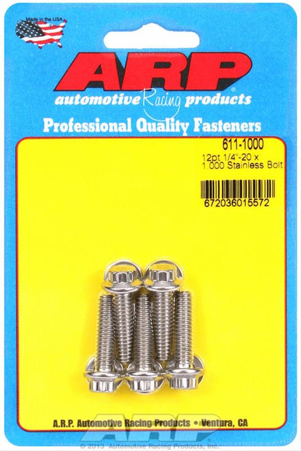 "ARP 611-1000 Stainless Steel Bolts - 12 Point Head - 1/4""-20 - 1.000"" UHL 5 Pack"