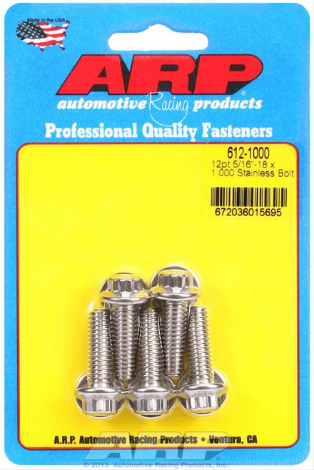 "ARP 612-1000 Stainless Steel Bolts 12 Point Head - 5/16""-18 - 1.000"" UHL 5 Pack"