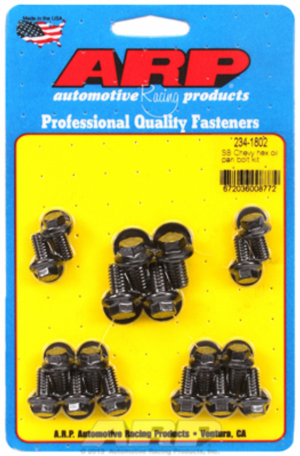 ARP 234-1802 Oil Pan Bolt Kit - Small Block Chevy - Hex Head - Black Oxide