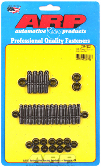ARP 234-1902 Oil Pan Stud Kit - Small Block Chevy - 12-Point Nuts - Black Oxide