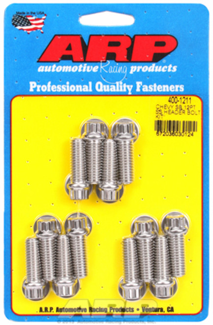 """ARP 400-1211 Stainless Header Bolts 3/8"""" 12 Point Head Set of 12 - 1.00"""" UHL SBC"""