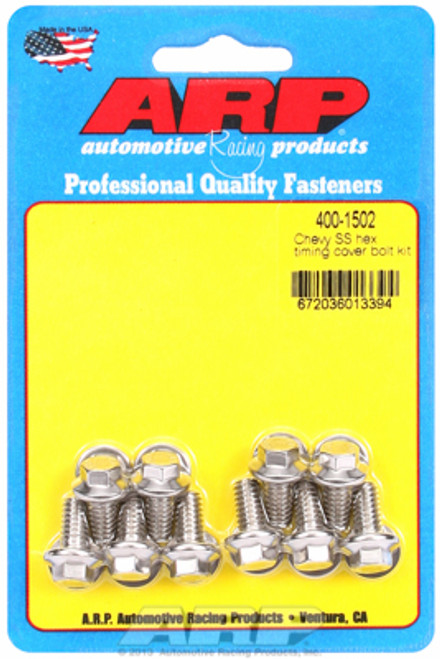ARP 400-1502 Stainless Timing Cover Bolts Chevy Small Block/Big Block - Hex Head
