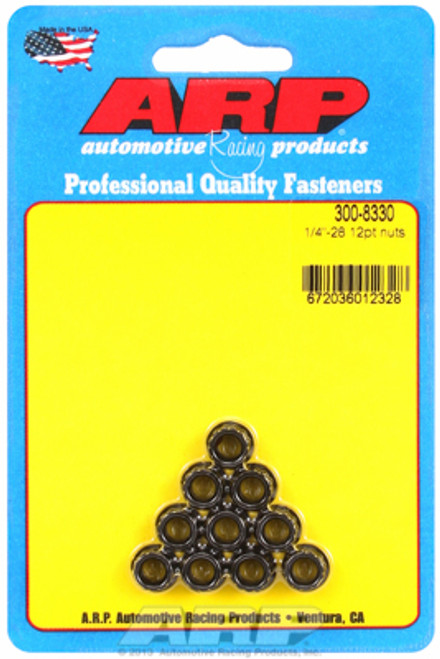 "ARP 300-8330 Nuts - 1/4""-28 - Black Oxide Finish - 12 Point Head - 10 Pack"