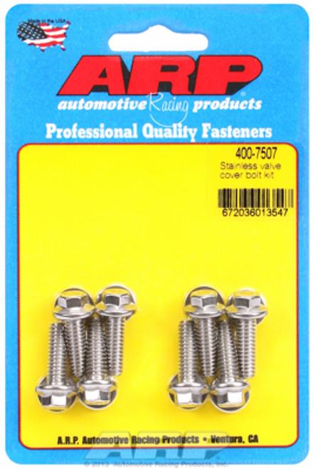 """ARP 400-7507 Stainless Steel Valve Cover Bolt Kit Hex Head - 8pc - .812"""" UHL SBC"""