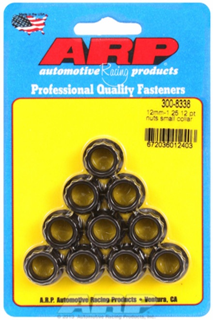 ARP 300-8338 Nuts - 12mm x 1.25 - Black Oxide Finish - 12 Point Head - 10 Pack