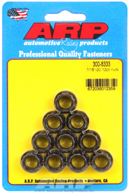 "ARP 300-8333 Nuts - 7/16""-20 - Black Oxide Finish - 12 Point Head - 10 Pack"