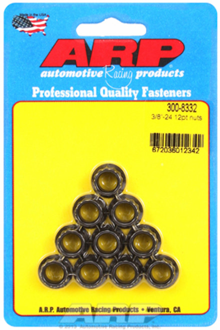 "ARP 300-8332 Nuts - 3/8""-24 - Black Oxide Finish - 12 Point Head - 10 Pack"