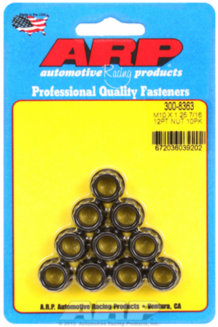 ARP 300-8363 Nuts - 10mm x 1.25 - Black Oxide Finish - 12 Point Head - 10 Pack