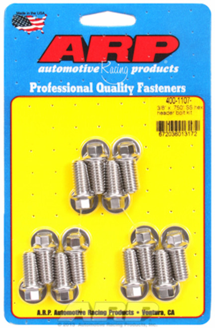 """ARP 400-1107 Header Bolts - SBC - 5/16"""" Wrench Head Stainless Hex Head - .750"""" L"""