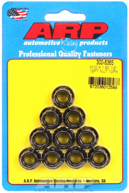 ARP 300-8365 Nuts - 10mm x 1.50 - Black Oxide Finish - 12 Point Head - 10 Pack