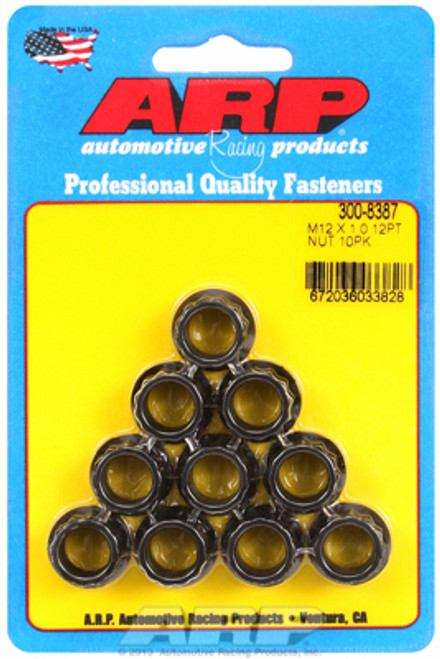 ARP 300-8387 Nuts - 12mm x 1.00 - Black Oxide Finish - 12 Point Head - 10 Pack