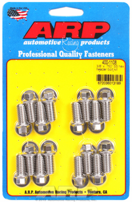 """ARP 400-1108 Header Bolts 5/16"""" Hex Head Stainless Set of 16 .750"""" UHL BBC/Ford"""