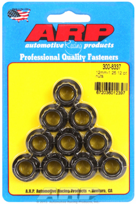 ARP 300-8337 Nuts - 12mm x 1.25 - Black Oxide Finish - 12 Point Head - 10 Pack