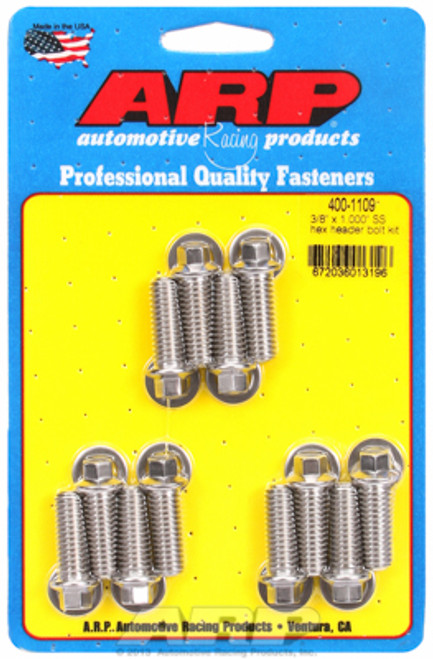 """ARP 400-1109 Header Bolts - SBC - 5/16"""" Wrench Head Stainless Hex Head - 1.00"""" L"""