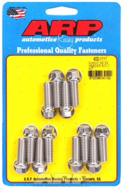 """ARP 400-1111 Header Bolts - SBC - 3/8"""" Wrench Head Stainless Hex Head - 1.00"""" L"""