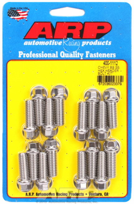 """ARP 400-1112 Stainless Header Bolts 3/8"""" Hex Head Set of 16 - 1.00"""" UHL BBC/Ford"""