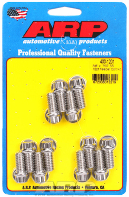 """ARP 400-1201 Stainless Header Bolts SBC -  3/8"""" 12 Point Wrench Head - 0.750"""" L"""