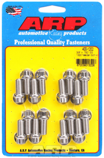 """ARP 400-1202 Stainless Header Bolts 3/8"""" 12 Point Head Set/16 .750"""" UHL BBC/Ford"""