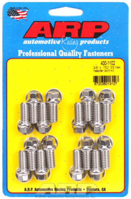 """ARP 400-1102 Header Bolts 3/8"""" Hex Head Stainless Set of 16 - .750"""" UHL BBC/Ford"""