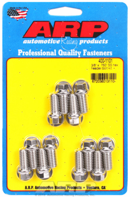 """ARP 400-1101 Header Bolts SBC-  3/8"""" Wrench Head - Stainless - Hex Head 0.750"""" L"""