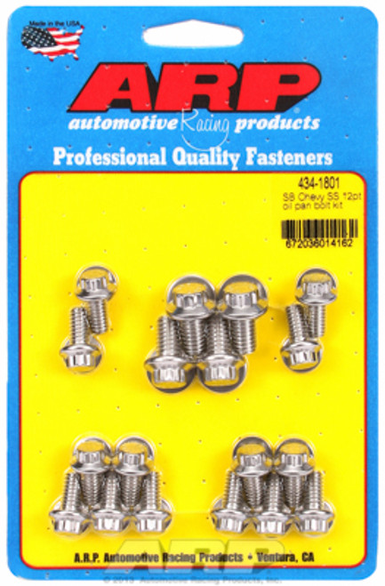 ARP 434-1801 Stainless Steel Oil Pan Bolt Kit - Small Block Chevy 12 Point Head