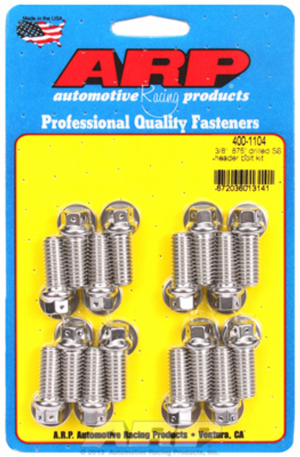 """ARP 400-1104 Header Bolts 3/8"""" Hex Head SS Set of 16 0.875"""" UHL BBC/Ford Drilled"""