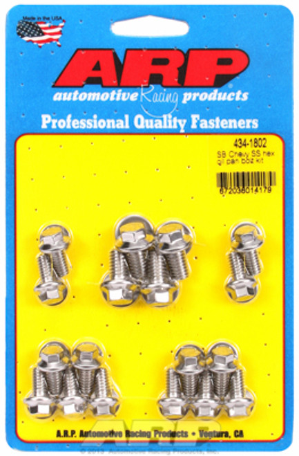 ARP 434-1802 Stainless Steel Oil Pan Bolt Kit - Small Block Chevy - Hex Head