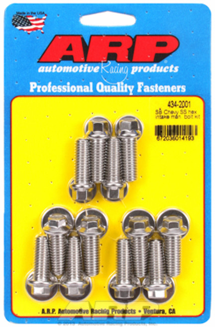 ARP 434-2001 Stainless Steel Intake Manifold Bolt Kit Small Block Chevy Hex Head