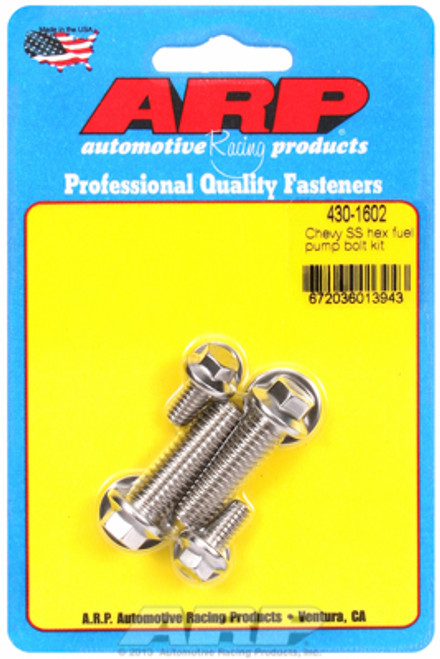 ARP 430-1602 Stainless Fuel Pump Mounting Bolts Chevrolet Big/Small Block Hex
