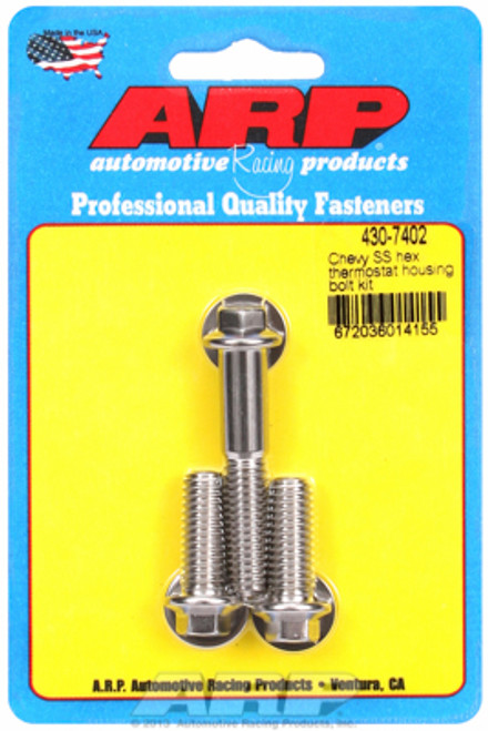 ARP 430-7402 Stainless Steel Thermostat Housing Bolts - Hex Head - Chevy V8 3pc