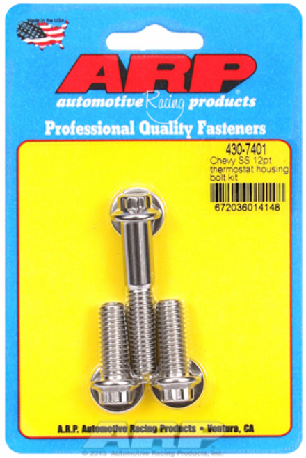 ARP 430-7401 Stainless Steel Thermostat Housing Bolts - 12 Point - Chevy V8 3pc