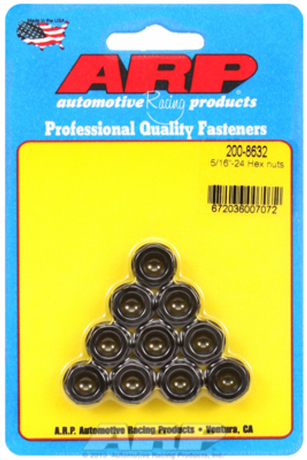 "ARP 200-8632 Nuts - 5/16""-24 - Black Oxide Finish - Hex Head - 10 Pack"
