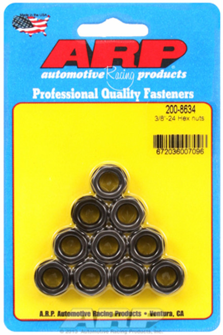 "ARP 200-8634 Nuts - 3/8""-24 - Black Oxide Finish - Hex Head - 10 Pack"