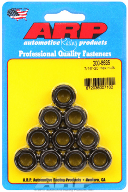 "ARP 200-8635 Nuts - 7/16""-20 - Black Oxide Finish - Hex Head - 10 Pack"