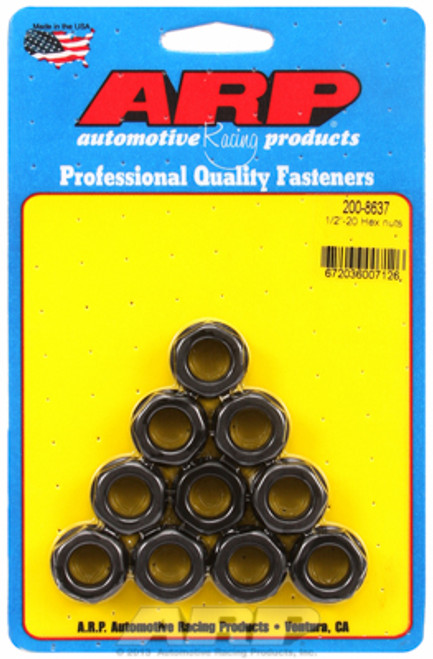 "ARP 200-8637 Nuts - 1/2""-20 - Black Oxide Finish - Hex Head - 10 Pack"