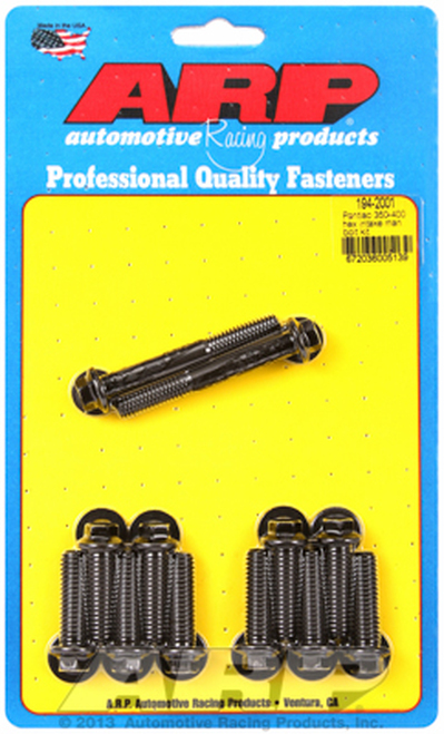 ARP 194-2001 Hex Intake Manifold Bolts Pontiac 350-455 V8 Engines Black Finish