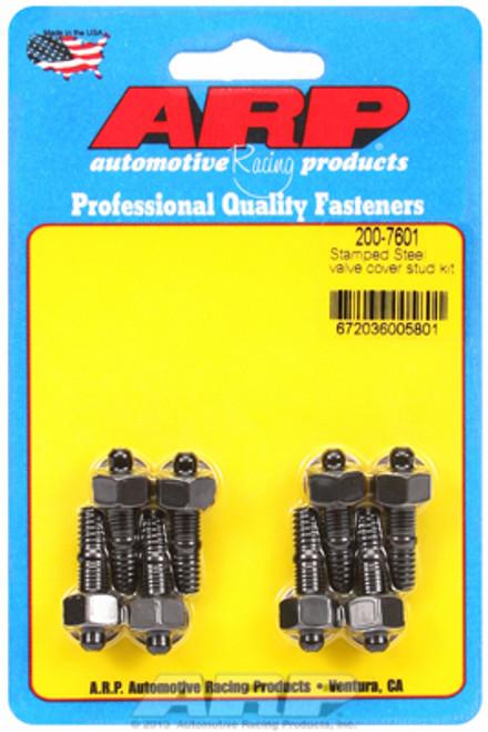 """ARP 200-7601 Valve Cover Stud Kit - Black - Hex Head - 8pc - 1.170"""" Length SBC"""