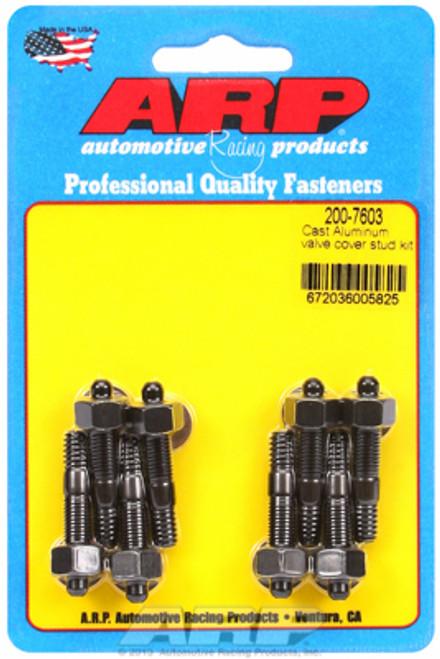 """ARP 200-7603 Valve Cover Stud Kit - Black - Hex Head - 8pc - 1.500"""" Length SBC"""