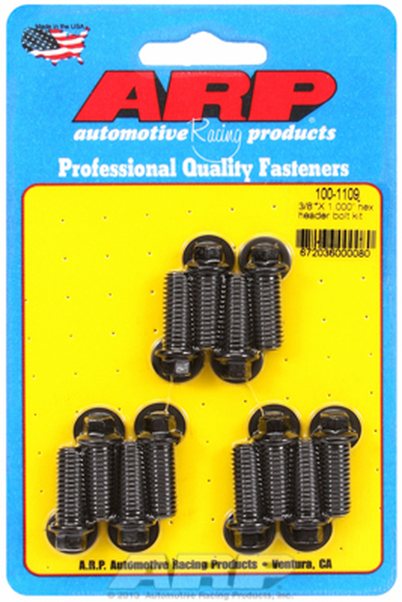 "ARP 100-1109 Header Bolts - SBC - 5/16"" Wrench Head - Black - Hex Head - 1.00"" L"