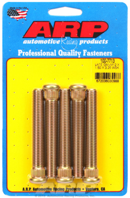 "ARP 100-7713 Extended Wheel Studs GM Late Model M12x1.50 3.250"" UHL .509 Knurl"