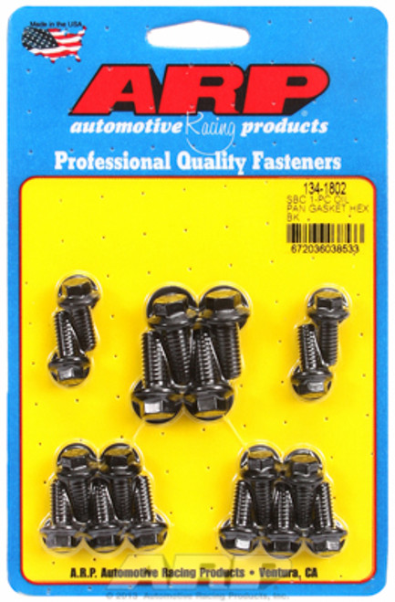 ARP 134-1802 Oil Pan Bolt Kit - Small Block Chevy w/ 1 Piece Gasket - Black Hex