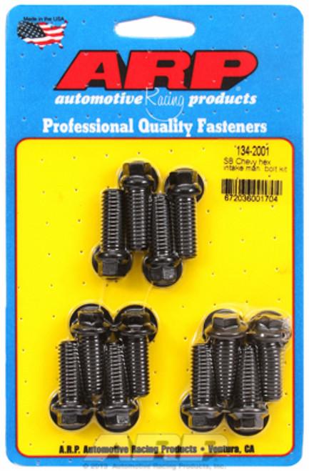 ARP 134-2001 Intake Manifold Bolt Kit - Small Block Chevy - Black Oxide Hex Head