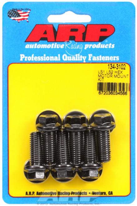 ARP 134-3102 Motor Mount Bolt Kit - GM LS Engines - Motor Mount to Block - Black