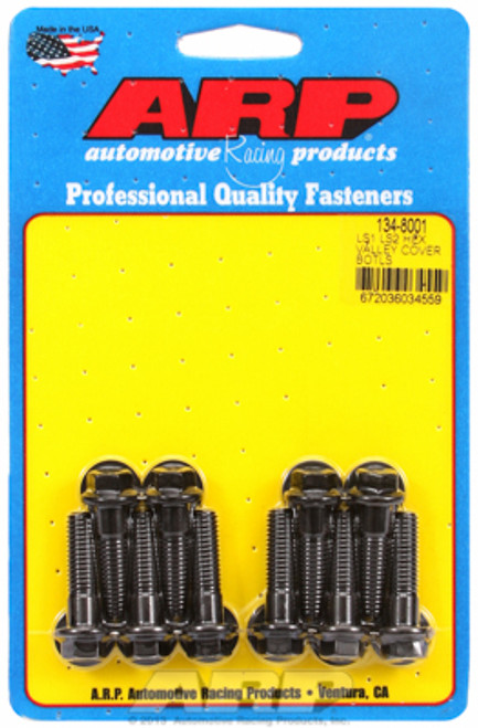 ARP 134-8001 Intake Valley Cover Bolts - GM LS Engines - Black Oxide - Hex Head