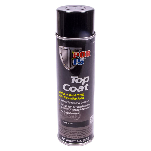 POR 15 45818 Blackcote Gloss Black Top Coat - 14oz Aerosol Spray Can - Each