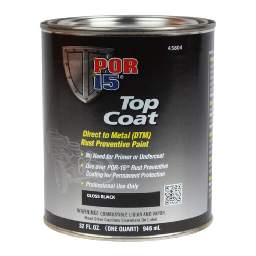 POR 15 45804 Gloss Black BlackCote - Top Coat Over POR-15 - Quart