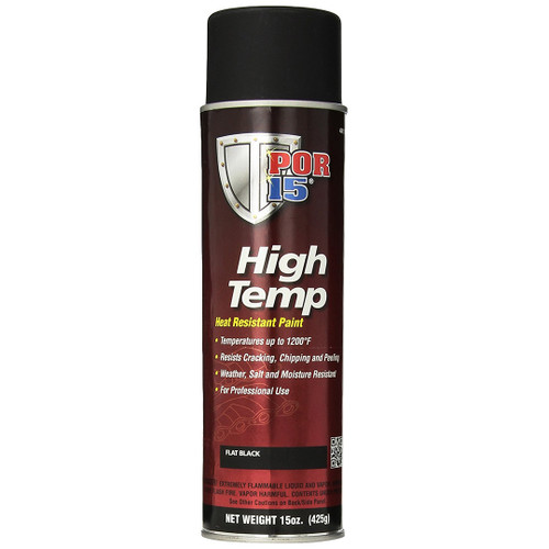 POR 15 44118 High Temp Aerosol Header Paint - 1200 Degree - Flat Black 15oz Can