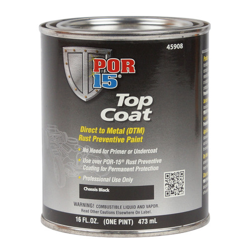 POR 15 45908 Semi-Gloss Chassis Coat Black - Top Coat Over POR-15 - Pint