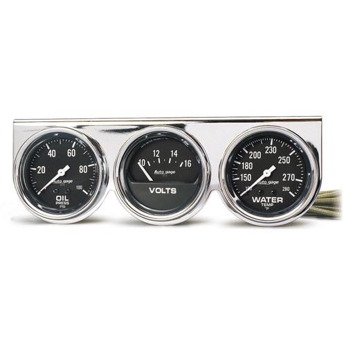 AutoMeter 2399 Autogage Black Oil/Water/Volt Chrome Console