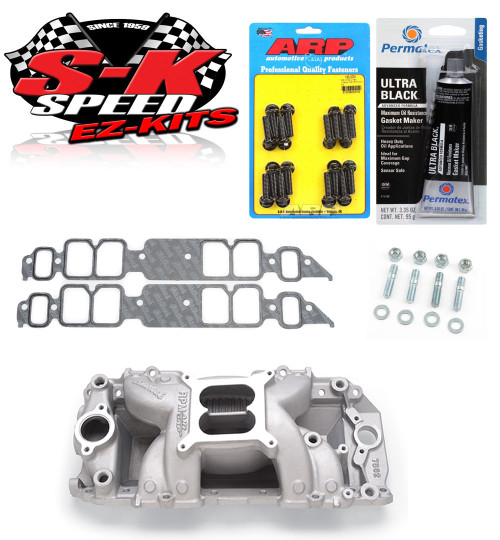 Edelbrock 7562 Performer BBC Rect Port RPM Air Gap Intake w/Bolts/Gaskets/RTV -